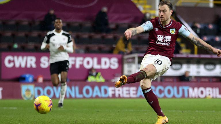 Ashley Barnes equalises for Burnley against Fulham