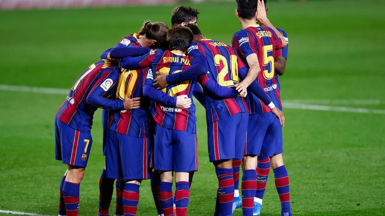 Barcelona players celebrate during the thumping win over Alaves