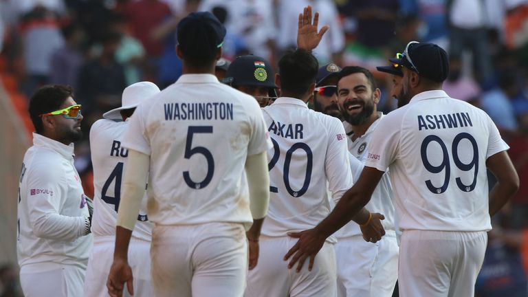 Left-arm spinner Axar Patel took 11 wickets in only his second Test as India beat England inside two days at Ahmedabad.  Pic: BCCI