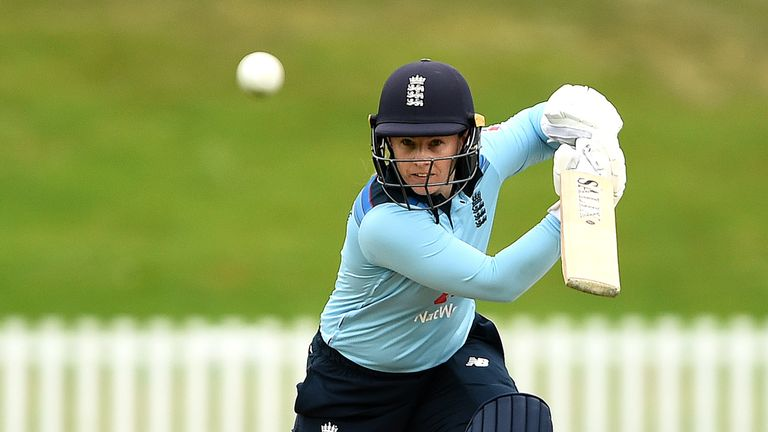 Tamsin Beaumont in action from England against New Zealand during ODI series in 2021