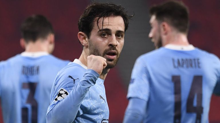 Bernardo Silva celebrates after giving Man City the lead against Borussia Monchengladbach
