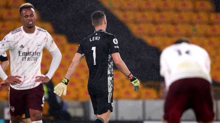 Bernd Leno leaves the pitch after being sent off