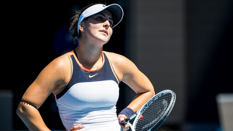 Bianca Andreescu shows her frustration after going out of the tournament (Photo by Jason Heidrich/Icon Sportswire) (Icon Sportswire via AP Images)