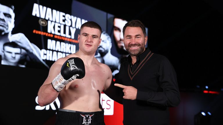 HANDOUT PICTURE COMPLIMENTS OF MATCHROOM BOXING Johnny Fisher vs Matt Gordan, Heavyweight Contest. 20 February 2021 Picture By Mark Robinson Johnny Fisher celebrates victory with Eddie Hearn.