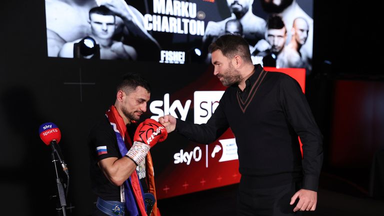 HANDOUT PICTURE COMPLIMENTS OF MATCHROOM BOXING David Avanesyan vs Josh Kelly, European Welterweight Title 20 February 2021 Picture By Mark Robinson David Avanesyan and Eddie Hearn after victory.