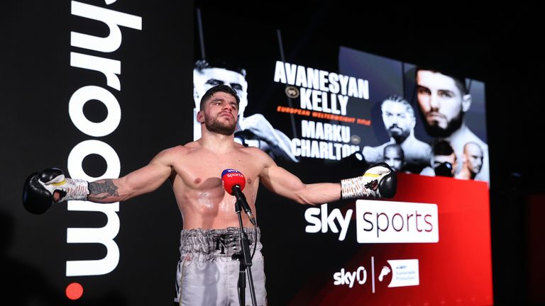 HANDOUT PICTURE COMPLIMENTS OF MATCHROOM BOXING Florian Marku vs Rylan Charlton, Welterweight Contest. 20 February 2021 Picture By Mark Robinson Florian Marku interview after the fight.