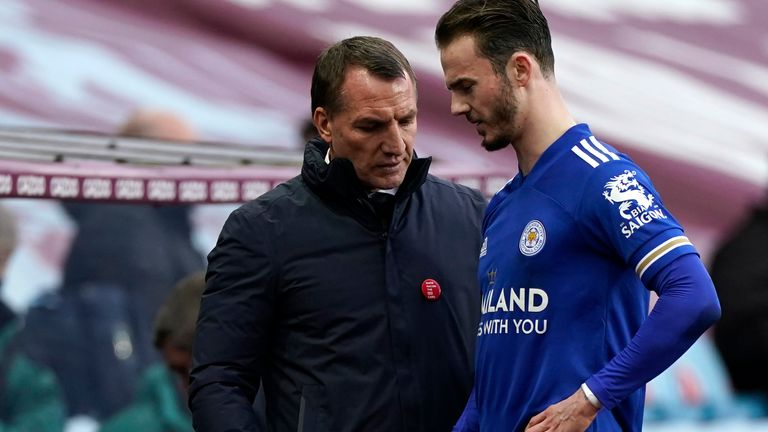 Brendan Rodgers watches as James Maddison walks off the pitch after suffering an injury
