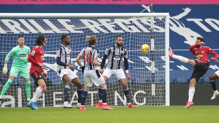 Bruno Fernandes smashes home the equaliser against West Brom