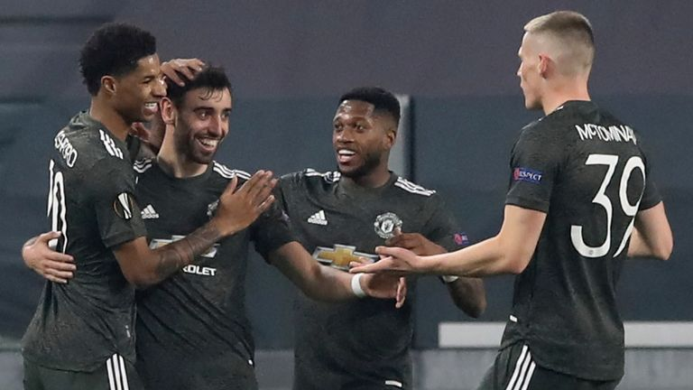 Bruno Fernandes celebrates scoring for Manchester United against Real Sociedad