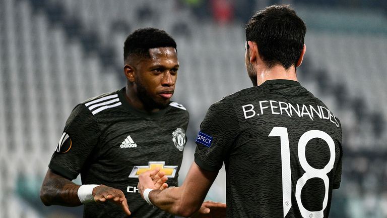 Bruno Fernandes celebrates after scoring the opening goal for Manchester United with Fred