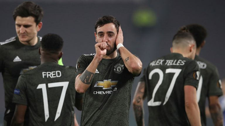 Bruno Fernandes celebrates scoring against Real Sociedad for Manchester United