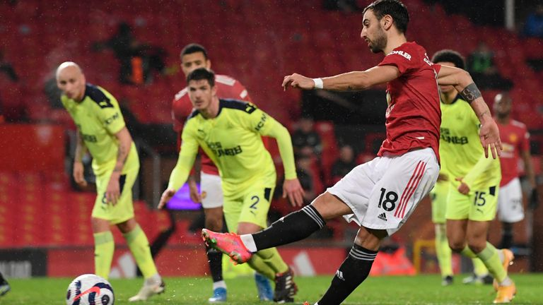 Bruno Fernandes scores Manchester United's third goal from the penalty spot