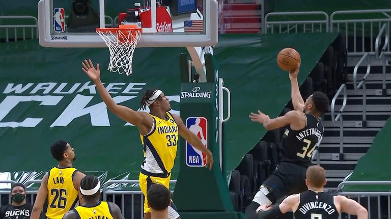 Giannis Antetokounmpo lays up against the Indiana Pacers