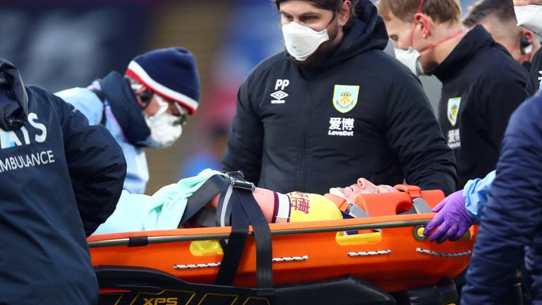 Burnley's Ben Mee was the first Premier League player to be taken off as a concussion substitute