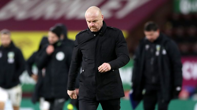 Sean Dyche trudges off the pitch following his side's FA Cup exit