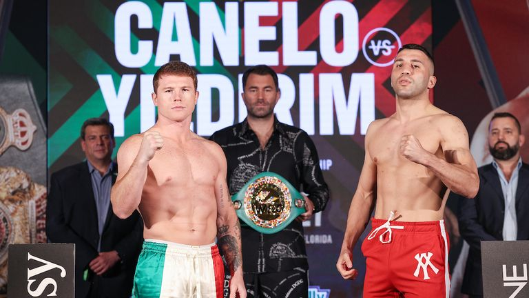 February 26, 2021; Miami, Florida; Saul Alvarez and Avni Yildirim pose after weighing in for their upcoming bout. The two will meet on the February 27, 2021 Matchroom card at the Hard Rock Stadium in Miami Gardens, FL. Mandatory Credit: Melina Pizano/Matchroom.