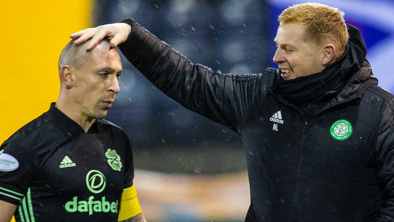 KILMARNOCK, SCOTLAND - FEBRUARY 02:  Celtic Manager Neil Lennon with captain Scott Brown at Full Time during the Scottish Premiership match between Kilmarnock and Celtic at Rugby Park on February 02, 2021, in Kilmarnock, Scotland. (Photo by Alan Harvey / SNS Group)
