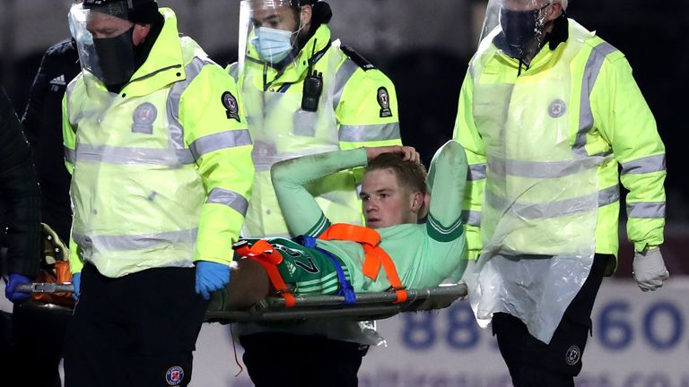 Stephen Welsh was stretchered off in Celtic's 4-0 win at St Mirren