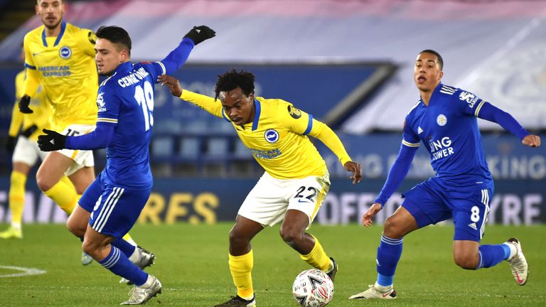 Percy Tau gets away from Cengiz Under in the FA Cup tie between Leicester and Brighton