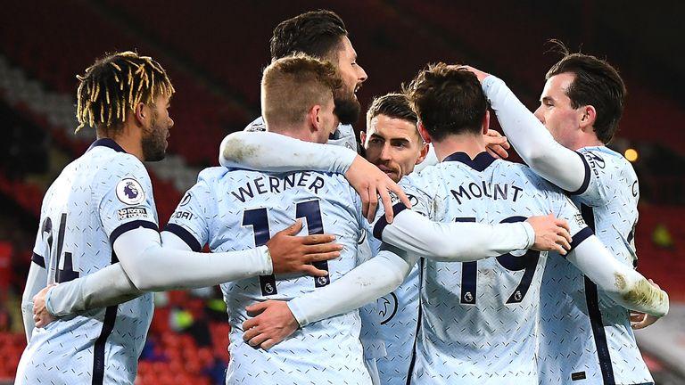Chelsea celebrate against Sheffield United