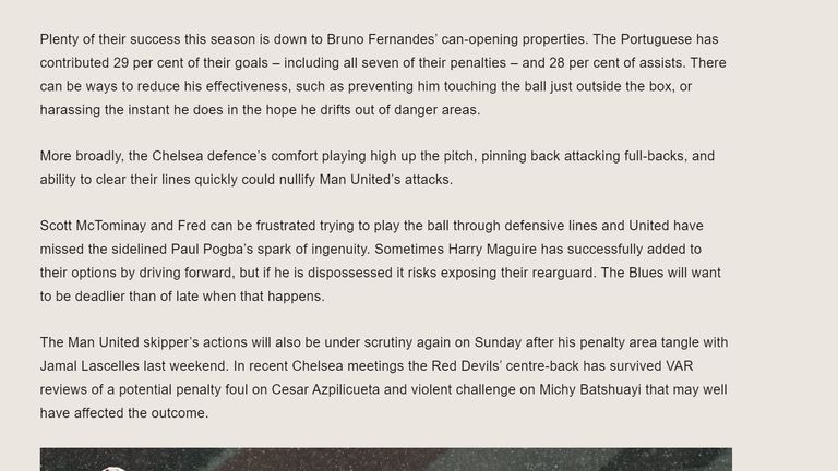 A screengrab of the pre-match analysis on the Chelsea website which upset the Manchester United manager