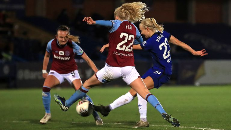 Pernille Harder scored a hat-trick for Chelsea