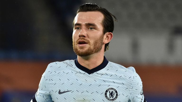 Chelsea's Ben Chilwell during the English Premier League soccer match between Leicester City and Chelsea at the King Power Stadium in Leicester, England, Tuesday, Jan. 19, 2021. (AP Photo/Rui Vieira)