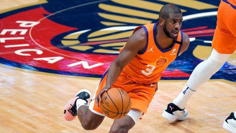 Phoenix Suns guard Chris Paul drives the ball down court against New Orleans Pelicans