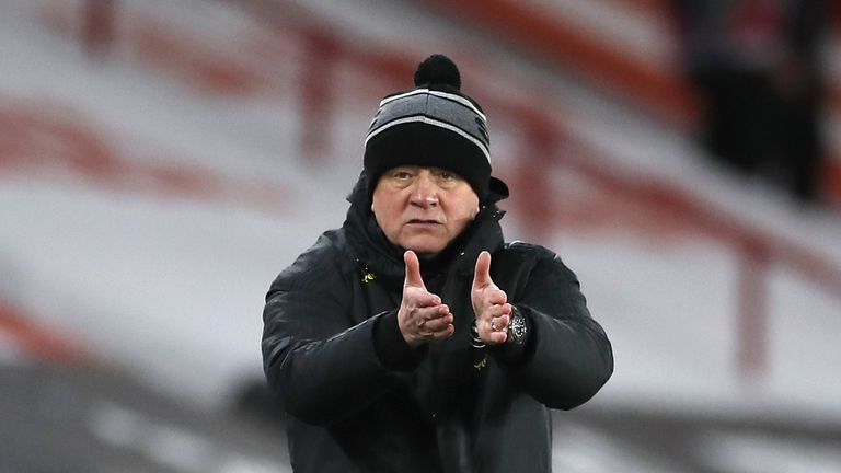 Sheffield United manager Chris Wilder instructs his players during the Premier League match at Bramall Lane, Sheffield. Picture date: Sunday February 7, 2021.