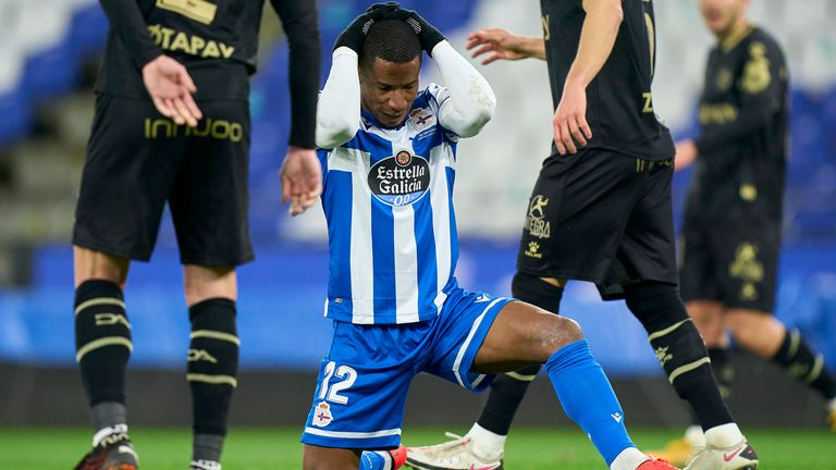 Claudio Beauvue of Deportivo La Coruna reacts during Copa del Rey Second Round Match between RC Deportivo de La Coruna and Deportivo Alaves at Abanca Riazor Stadium on January 06, 2021 in La Coruna, Spain