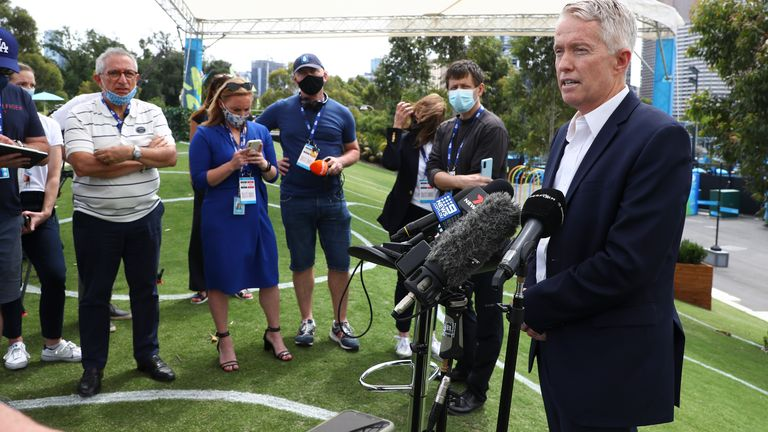Craig Tiley addresses the media in Melbourne after all six warm-up events scheduled for Thursday were called off