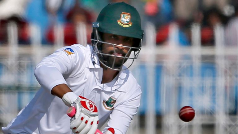 Bangladesh batsman Tamim Iqbal top-scored with 92 before becoming one of Jayawickrama's six scalps