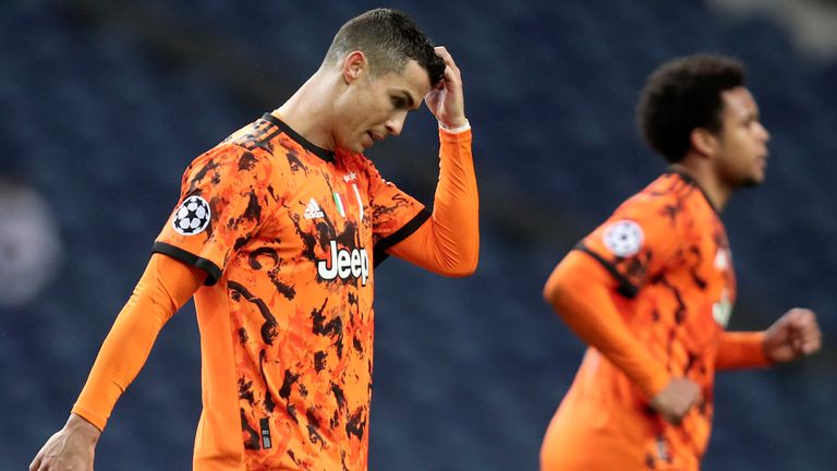 Juventus' Cristiano Ronaldo gestures during the Champions League round of 16, first leg, soccer match between FC Porto and Juventus at the Dragao stadium in Porto, Portugal, Wednesday, Feb. 17, 2021. (AP Photo/Luis Vieira)
