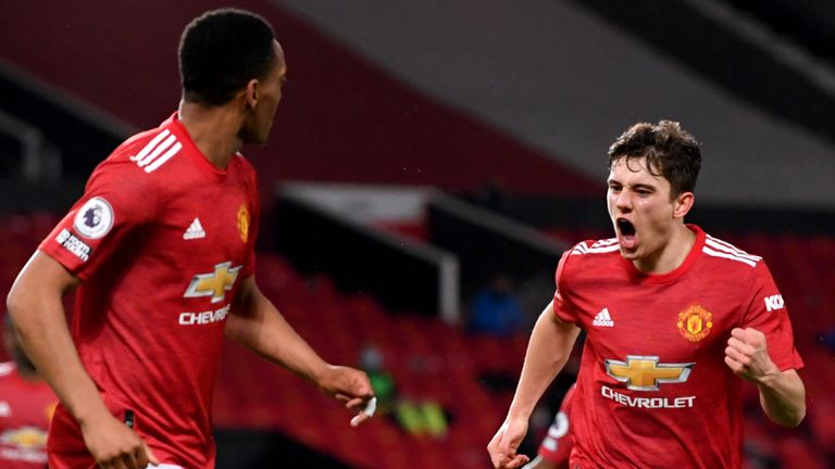 Dan James celebrates putting Manchester United 2-1 up against Newcastle