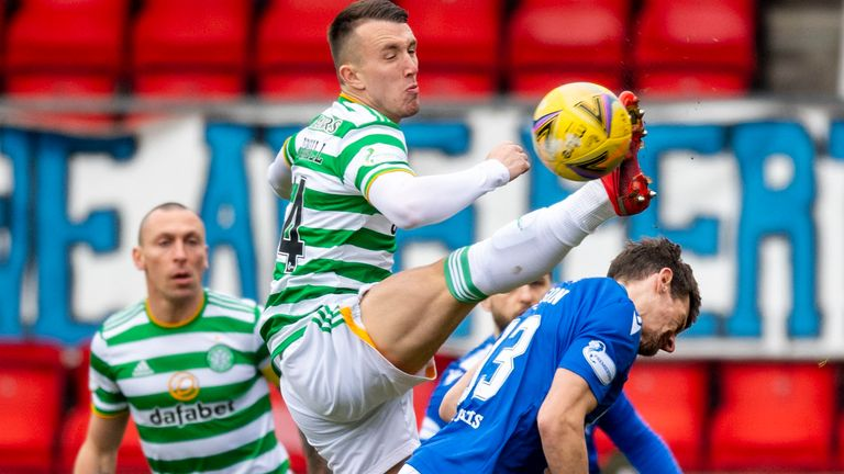 PERTH, SCOTLAND - FEBRUARY 14: Celtic's David Turnbull and Murray Davidson in action during a Scottish Premiership match between St Johnstone and Celtic at McDiarmid Park, on February 14, 2021, in Perth, Scotland. (Photo by Ross Parker / SNS Group)