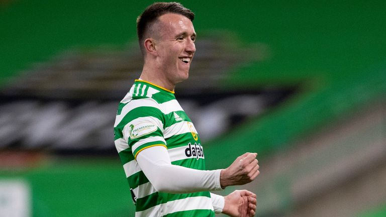 Celtic's David Turnbull celebrates after scoring to make it 1-0 against Aberdeen