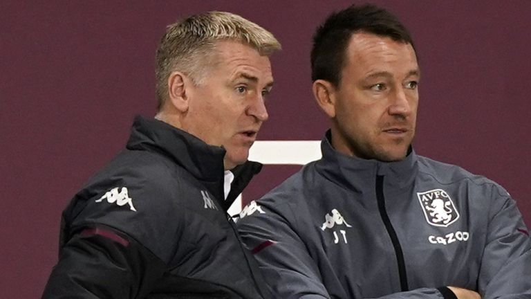 Aston Villa boss Dean Smith with assistant John Terry