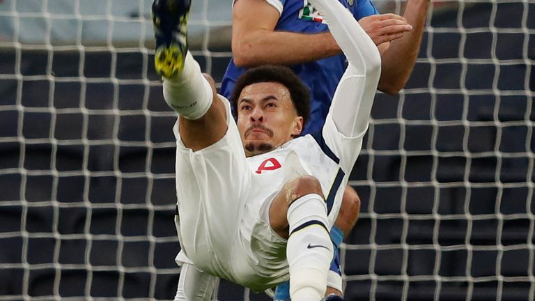 Dele Alli scores with a spectacular overhead kick against Wolfsberger