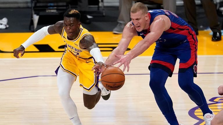The Lakers were pushed all the way and needed two periods of overtime before eventually seeing off Detroit (AP Photo/Marcio Jose Sanchez)