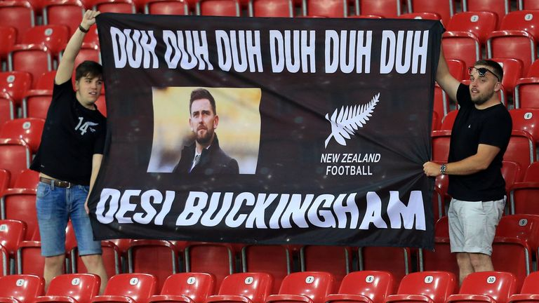 Fans show their support for Des Buckingham during the 2019 FIFA U-20 World Cup group C match between Norway and New Zealand at Lodz Stadium on May 27, 2019 in Lodz, Poland.