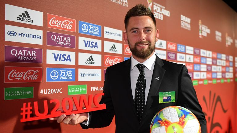 Des Buckingham, head coach of New Zealand U 20 holds the official match ball and hashtag after the official draw for the FIFA U- 20 World Cup at the Gdynia Arena on February 24, 2019 in Gdynia, Poland.