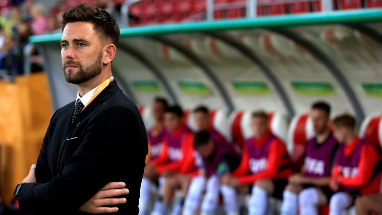 Des Buckingham looks on during the 2019 FIFA U-20 World Cup group C match between Norway and New Zealand at Lodz Stadium on May 27, 2019 in Lodz, Poland.