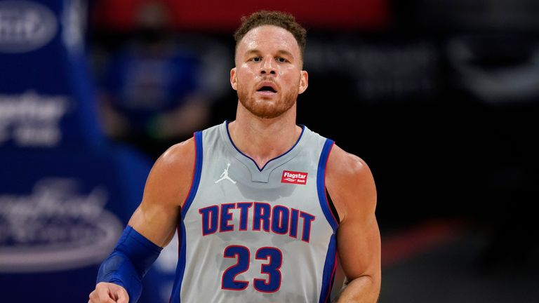 Detroit Pistons forward Blake Griffin plays during the second half of an NBA basketball game