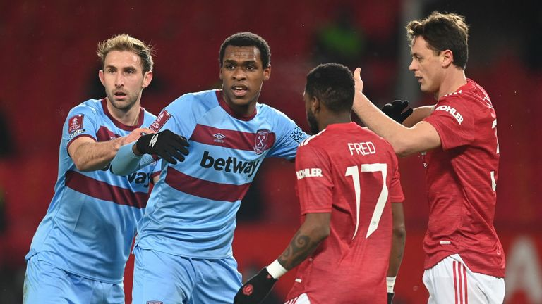 Issa Diop (middle left) during West Ham's FA Cup fifth round tie at Manchester United