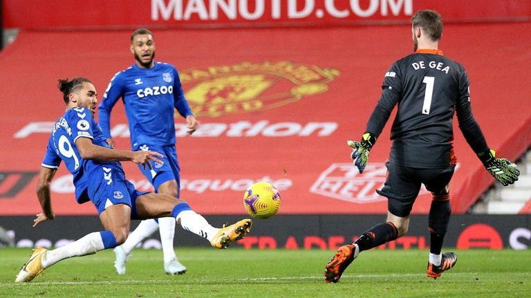 Everton's Dominic Calvert-Lewin scores his side's third goal against Manchester United