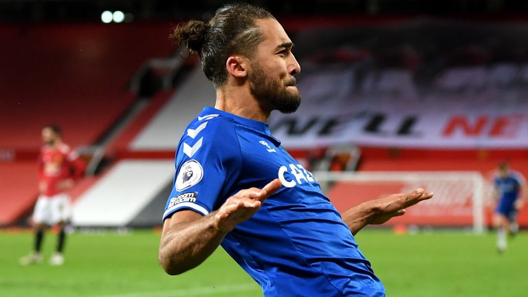 Dominic Calvert-Lewin celebrates his injury-time equaliser at Old Trafford