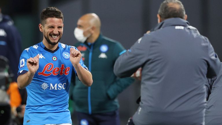 Dries Mertens celebrates his goal for Napoli