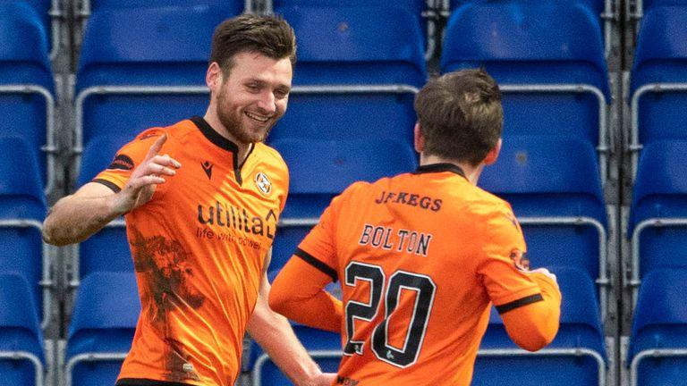 Ryan Edwards celebrates Dundee United's second goal with Luke Bolton