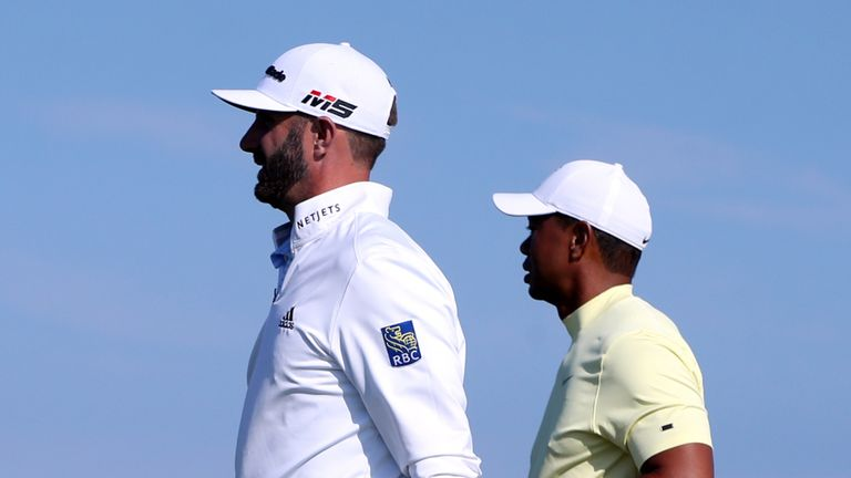 Dustin Johnson and Tiger Woods play together at The Open in 2019
