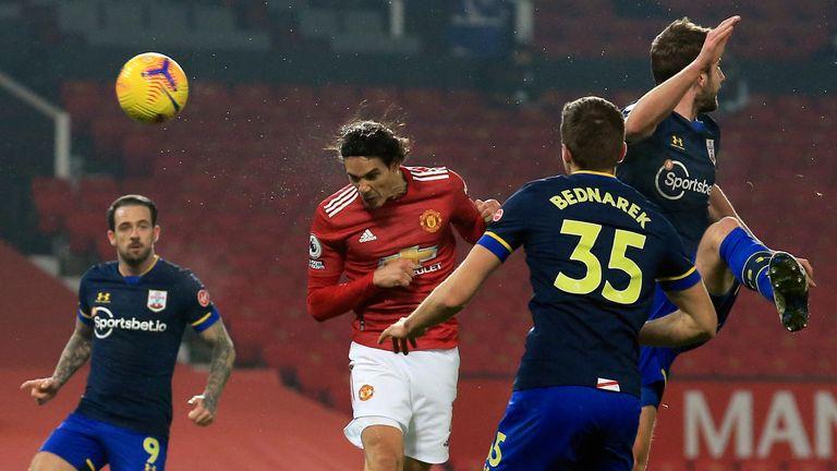 Edinson Cavani scores Man Utd's fourth goal (AP)